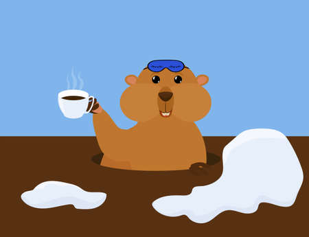 Groundhog Day vector cartoon illustration with cute marmot in sleep mask and cup of coffee. Traditional holiday character Ilustração