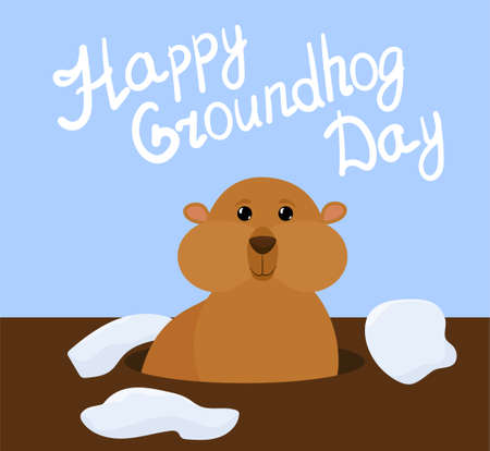 Groundhog Day vector cartoon background with cute marmot and letters on blue sky. Traditional holiday character