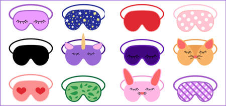 Sleep masks icon set in flat style. Eye protection wear accessory collection. Cartoon relaxation blindfolds vector illustration isolated on white background
