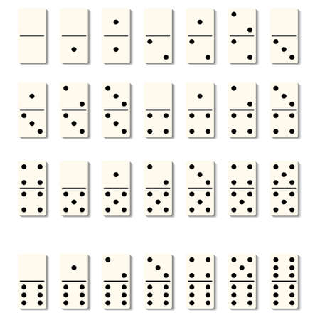 Dominoes tiles isolated blocks with black spots number for game on white background. Vector flat illustration