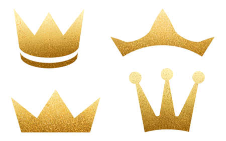 Set of golden crowns with glitters isolated on white. Shiny texture. Glossy effect. Sparkling diadem vector illustration