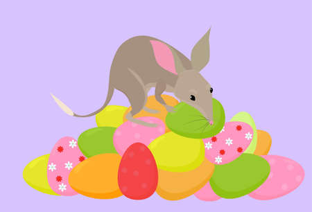 Cartoon illustration of cute bilby mascot on heap Easter eggs, little bandicoot Australian holiday symbol for greeting cards and posters isolated on lilac background