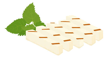 Halloumi grilled cheese and mint cartoon icon. Vector illustration of traditional Cypriot food isolated on white. Haloumi sliced rectangular piece