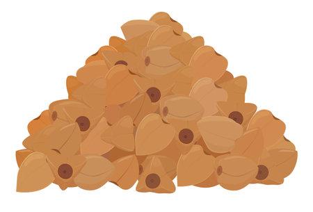 Buckwheat groats grain pile heap isolated on white background. Cartoon vector illustration Ilustração