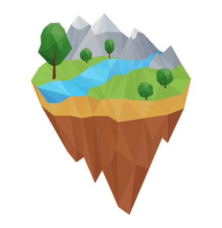Low poly geometric island. Vector nature concept Illustration, in triangular style. Background design for banner, poster.