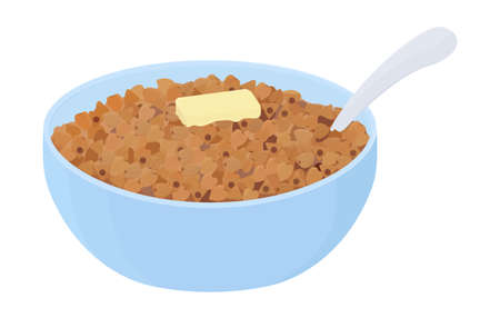Buckwheat porridge with butter in blue bowl. grain pile heap on plate. Cartoon breakfast vector illustration isolated on white background
