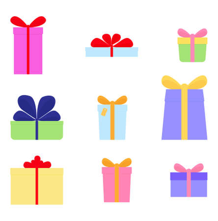 Vector set of different gift boxes with bows isolated on white. Flat design style illustration