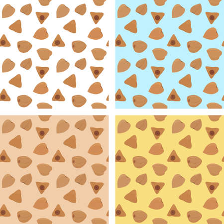 Buckwheat grains seamless patterns set. Different colors cartoon vector food ingredient background.