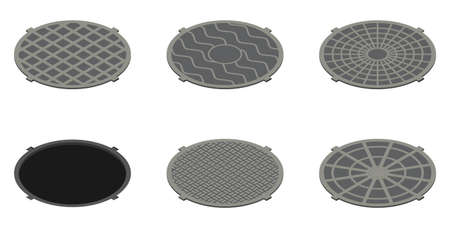 Set of isometric sewer hatches with different design isolated on white background
