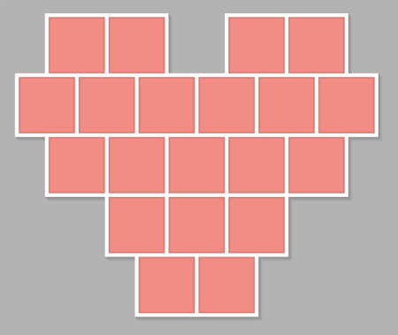 Valentines Day Mood Board. Collage frames template. Heart shape from 20 square tiles