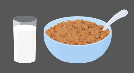 Buckwheat porridge with glass of milk in blue bowl. grain pile heap on plate. Cartoon breakfast vector illustration isolated on white background 向量圖像