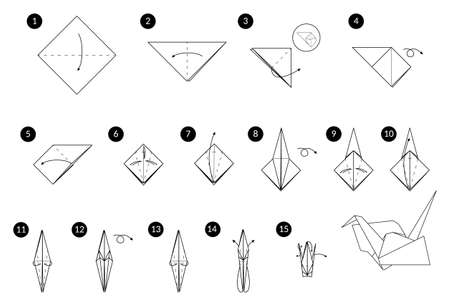 Tutorial how to make origami crane. Step by step instructions. Bird from paper without scissors.