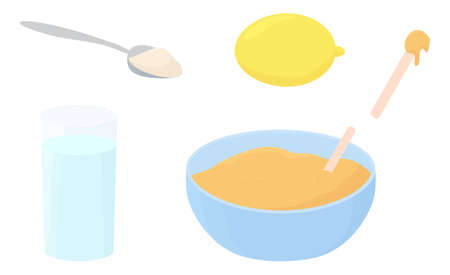 Illustration recipe of hair removal sugar paste for depilation isolated on white. Cup, spatula, spoon of sugar, glass of water, limon in cartoon flat style. 向量圖像