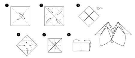 Tutorial how to make origami fortune teller. Step by step instructions. Toy from paper without scissors. 向量圖像