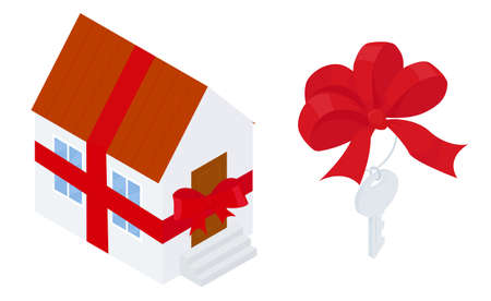 Gift home. Cartoon house wrapped with red ribbon. Key with bow. Vector illustration flat design style Isolated on white background. 向量圖像