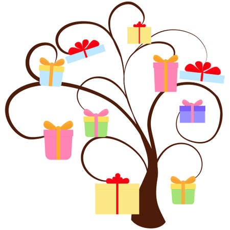 Holiday flat design tree with colorful gift boxes isolated on white. Big sale discount concept vector illustration.