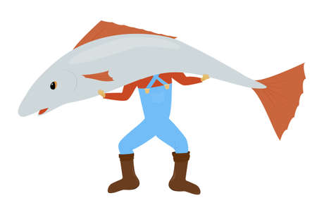Man standing and holding huge gray fish. Vector cartoon fisher illustration isolated on white background.