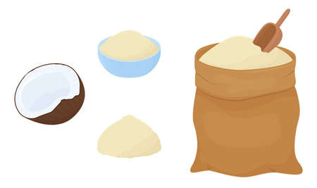 Coconut keto flour heap in bag and bowl and half coconut isolated on a white background. Vector illustration of healthy food in cartoon flat style.