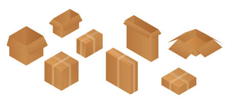 Isometric carton packaging opened and closed box set of different size. Vector illustration isolated on white.