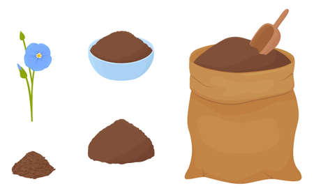 Flax flour heap in blue bowl and brown fabric bag isolated on white background. Healthy eating natural ingredient. Cartoon vector illustration.