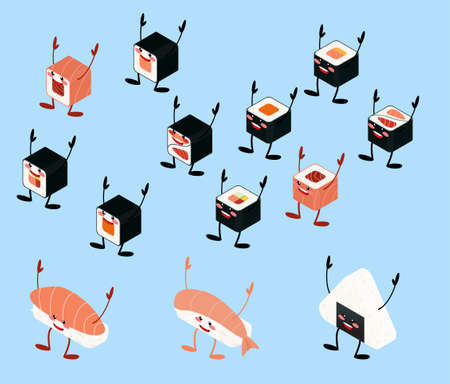 Japanese food kawaii mascot set isolated on blue background. icons of asian traditional menu vector illustration. Isometric sushi and asian soup