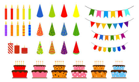 Set of vector birthday party elements. Decorative flags, candles and ornate cake different colors isolated on white. 向量圖像