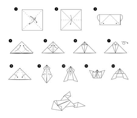 Tutorial how to make origami frog. Step by step instructions. Animal from paper square without scissors.