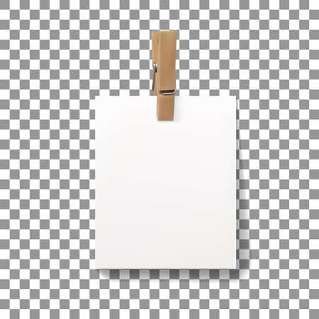 Vector realistic wooden clothespin peg with hanged piece of paper sheet. Illustration with copy space isolated on on checkered background.