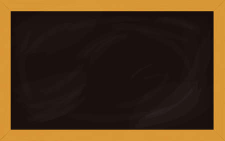Black school board with wooden frame isolated on white background. Empty chalkboard for classroom or restaurant menu. Vector template for design