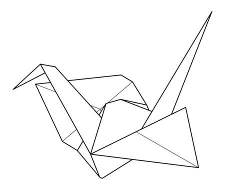 Black contour origami paper crane on white background. Vector line illustration of traditional japanese craft figure.