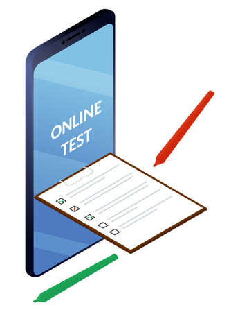 Online surveys or exam form. Checklist from smartphone screen and pencils. Isolated vector isometric illustration.