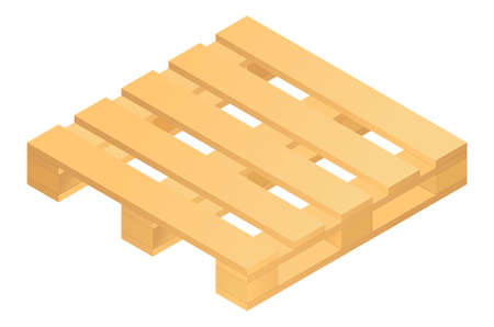 Isometric wooden pallet isolated on white background. Vector illustration. 向量圖像