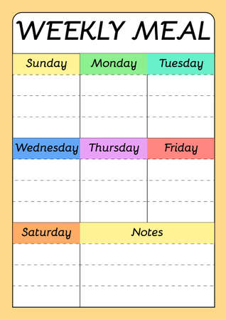 Weekly menu A4 printable planner template. Meal schedule empty blank. Undated weekly vector calendar. 向量圖像