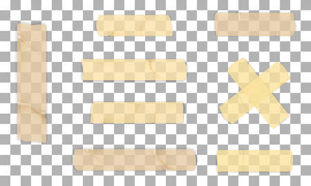 Adhesive or masking tape set isolated on transparent background. Vector realistic beige decorative adhesive tape pieces. 向量圖像