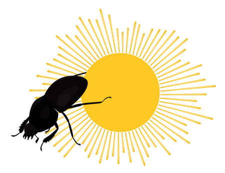 Scarab sacred Egyptian beetle rolls sun disk. Colorful flat illustration. Vector insect isolated on white. 向量圖像