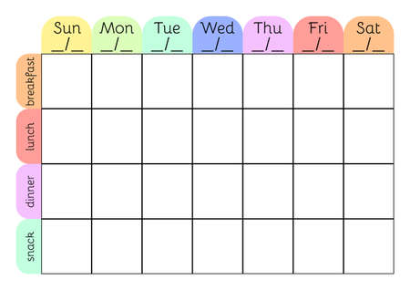 Weekly menu A4 printable planner template. Meal schedule blank. Undated weekly vector calendar.