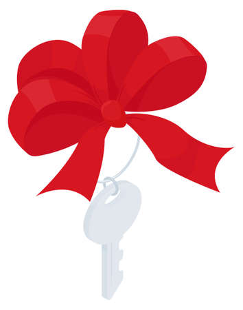 Key with red bow isometric Icon sign. Vector gift Illustration isolated on white.