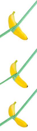 Banana dieta e perder peso processo conceito gordura da barriga, e de banana slim com medida objeto isolado no fundo branco