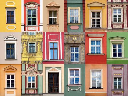 fachada: Conjunto de ventanas en la parte delantera de la construcción de colorido Foto de archivo