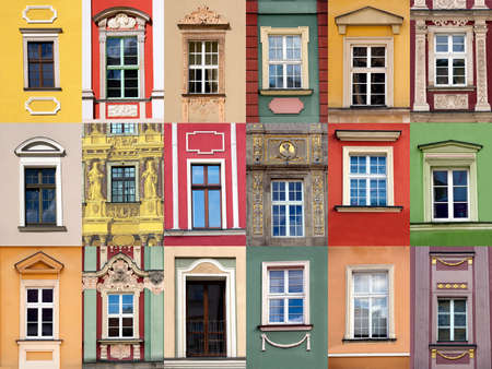 old building facade: Set of windows at colorful front of building Stock Photo