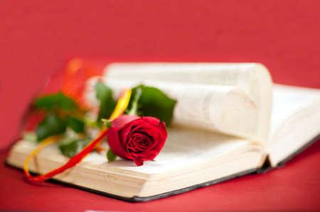愛の物語の本の概念赤いバラのハート形ページが開かれた本で帽子と赤の背景