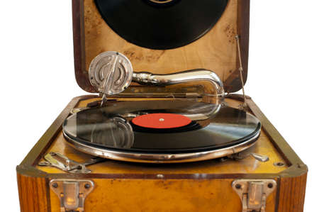 Close up view of retro gramophone with needle and black vinyl record photo
