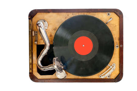 phonograph: Old gramophone with black vinyl record  view from the top  Isolated object