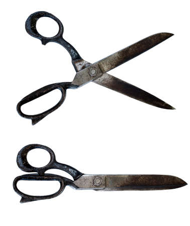 Isolated retro scissors at white background photo