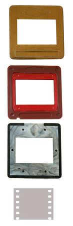 customisable: Set of blank photo slides frames  Isolated object at white background