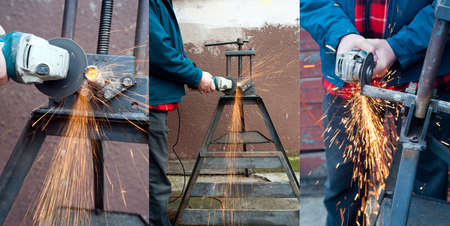 Photos of grinder at work  Side and front view of plumber working with grinder  Metal pipe at rack and sparks  Set of vertical photos  Close up of hand holding grinder   Grinder making a lot of red sparks Man cutting metal pipe  photo