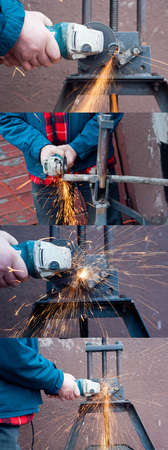 Plumber working with grinder  Set of horizontal photos  Grinder at work  Side and front view of plumber working with grinder  Metal pipe at rack and sparks   Close up of hand holding grinder   Grinder making a lot of red sparks Man cutting metal pipe  Stock Photo - 14191584