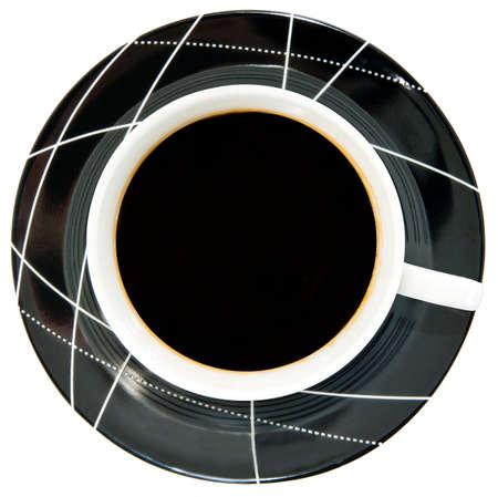 Copa de preto, caf� escuro em pires preto com branco padr�o isolado objeto View from the top Banco de Imagens
