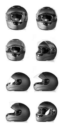 half open: Set of black, flip-up visor motorbike helmet  Side, front and angle view