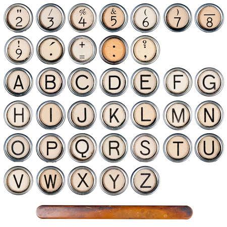 typewriter: Teclas de m�quina de escribir vintage, grunge, aislados en blanco las letras del alfabeto entero botones pizca borde de plata
